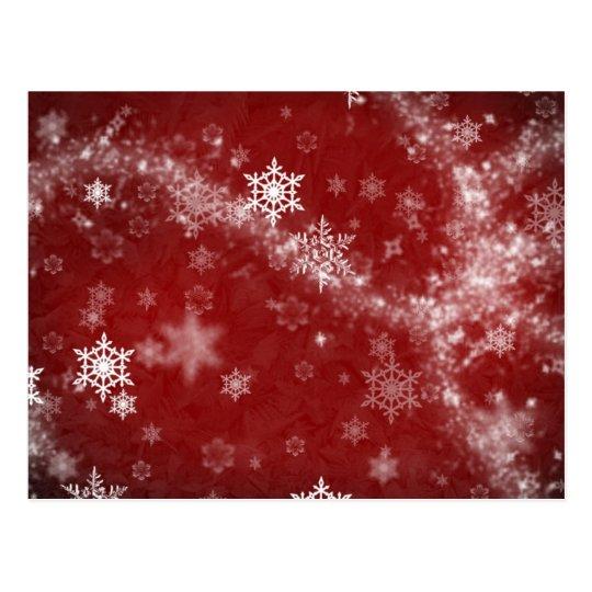 RED WHITE FROST SNOWFLAKES WINTER SWIRLS SNOW DIGI POSTCARD