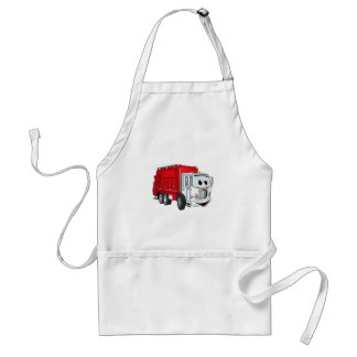 Red White Garbage Truck Cartoon Adult Apron