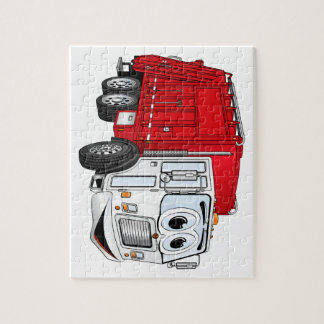 Red White Garbage Truck Cartoon Jigsaw Puzzle