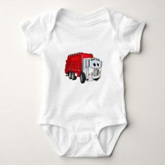 Red White Garbage Truck Cartoon Tee Shirt