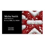 Red & White Geometric Quilted Look Monogram Business Cards