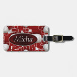 Red & White Geometric Quilted Look Monogram Tags For Luggage
