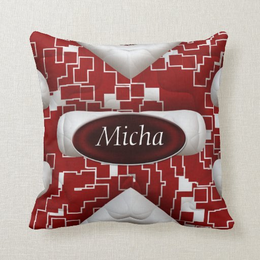 Red & White Geometric Quilted Look Monogram Throw Pillow