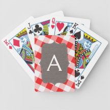 Red & White Gingham Canvas Playing Cards