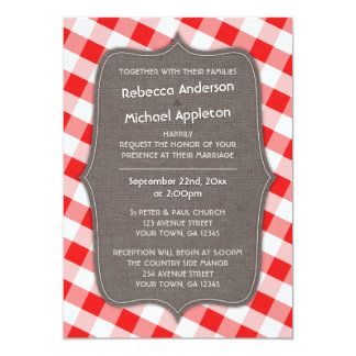 Red & White Gingham Canvas Wedding Invitations