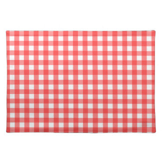 Red White Gingham Check Pattern Placemat