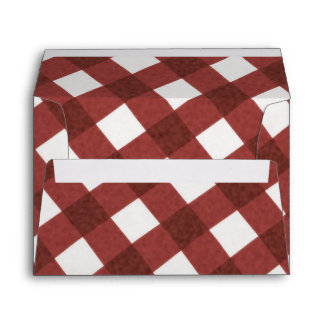 Red White Gingham Checker Summer BBQ Party Envelope