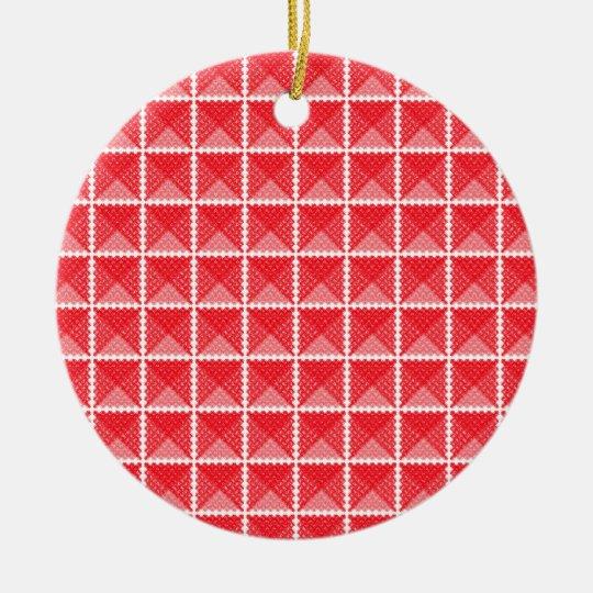 Red & White Gingham Like Ceramic Ornament