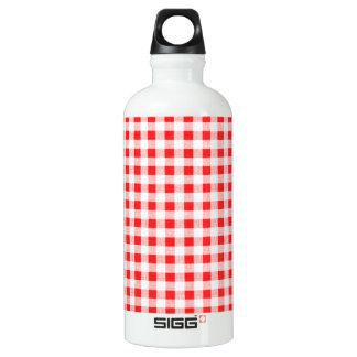 Red White Gingham Pattern Aluminum Water Bottle