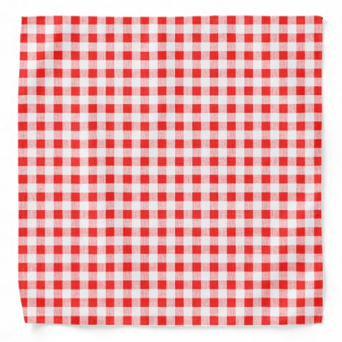 Red White Gingham Pattern Bandana