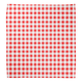 Red White Gingham Pattern Bandana