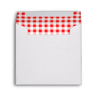 Red White Gingham Pattern Envelope