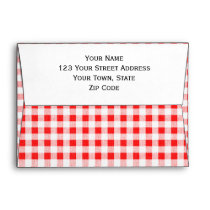 Red White Gingham Pattern Envelope