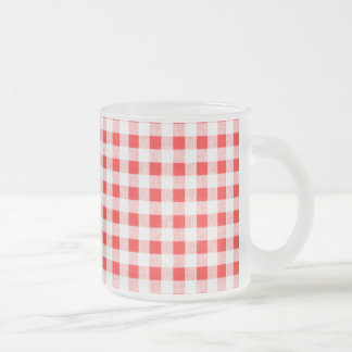 Red White Gingham Pattern Frosted Glass Coffee Mug