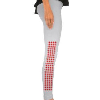 Red White Gingham Pattern Legging Tights