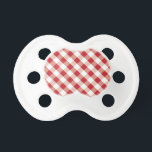 """Red &amp; white gingham pattern pacifier<br><div class=""""desc"""">Red &amp; white gingham pattern pacifier</div>"""