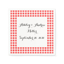 Red White Gingham Pattern Paper Napkin