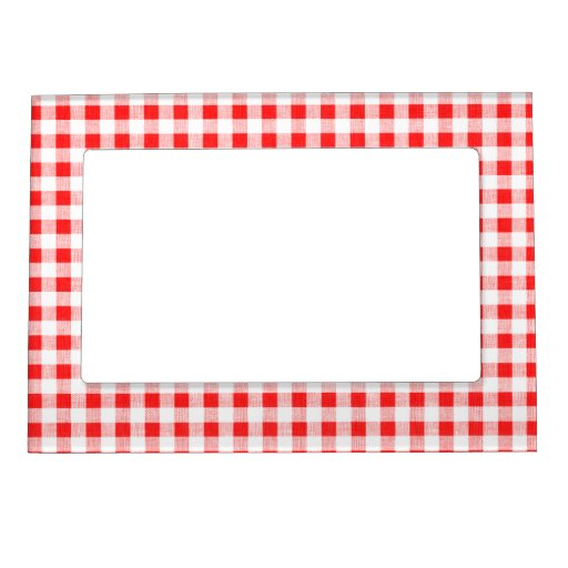 Red White Gingham Pattern Photo Frame Magnets