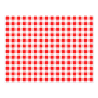 Red White Gingham Pattern Postcard