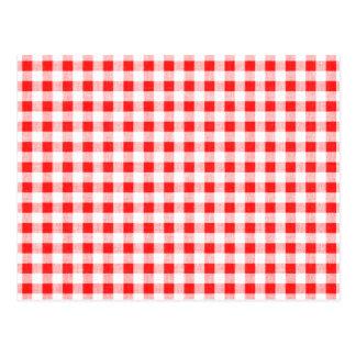 Red White Gingham Pattern Postcard