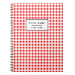 Red White Gingham Pattern Spiral Notebooks