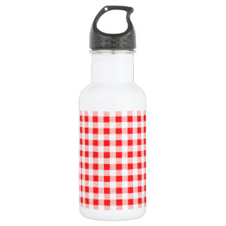 Red White Gingham Pattern Stainless Steel Water Bottle