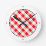 Red & White Gingham Pattern Wall Clock