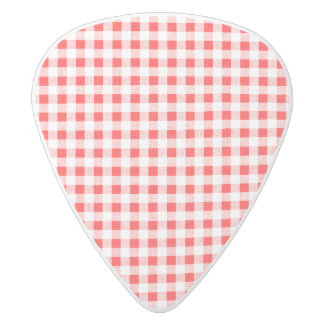 Red White Gingham Pattern White Delrin Guitar Pick