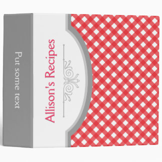 Red, white gingham pattern with frame recipe 3 ring binder