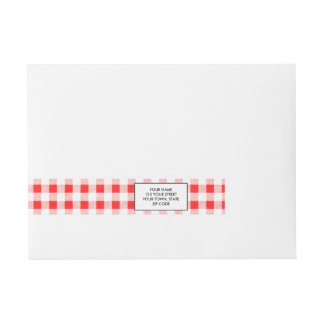 Red White Gingham Pattern Wrap Around Address Label