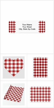 Red White Gingham Pattern Wrapping and Stationery
