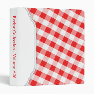 Red & White Gingham personalized Binder