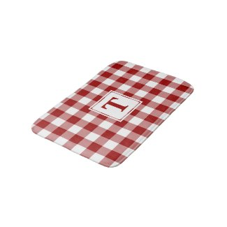 Red White Gingham Plaid Pattern with Monogram Bath Mat