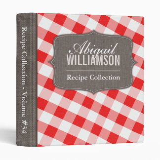 Red White Gingham Southern Recipe Binder