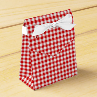 Red-White Ginham-PARTY FAVOR BOX, tent Favor Box