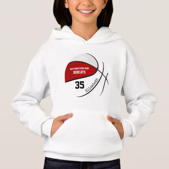 red white girls' basketball team colors hoodie