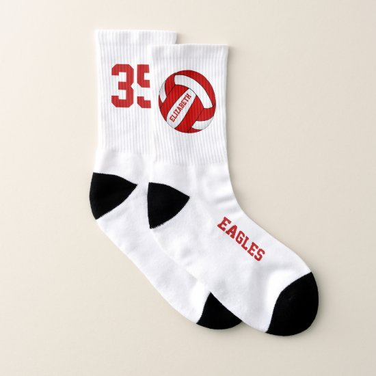red white girls volleyball team colors socks
