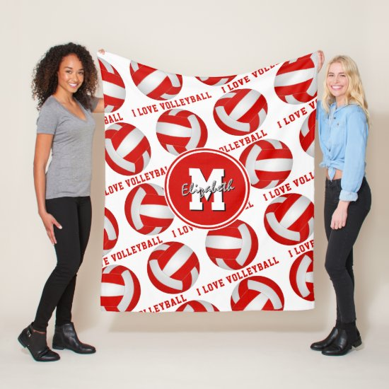 red white girly sports I love volleyball text Fleece Blanket