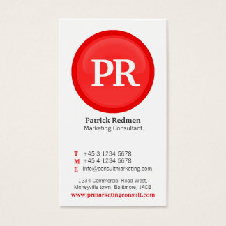 Red & white glass circle business card