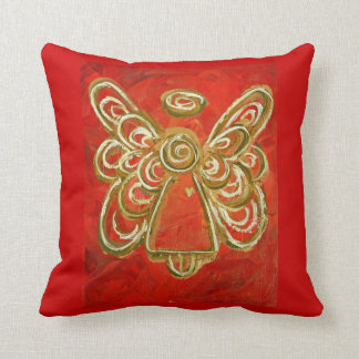 Red, White, Gold Angel Decorative Throw Pillow