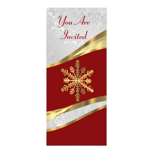 Red  white & gold Christmas Personalized Invitation