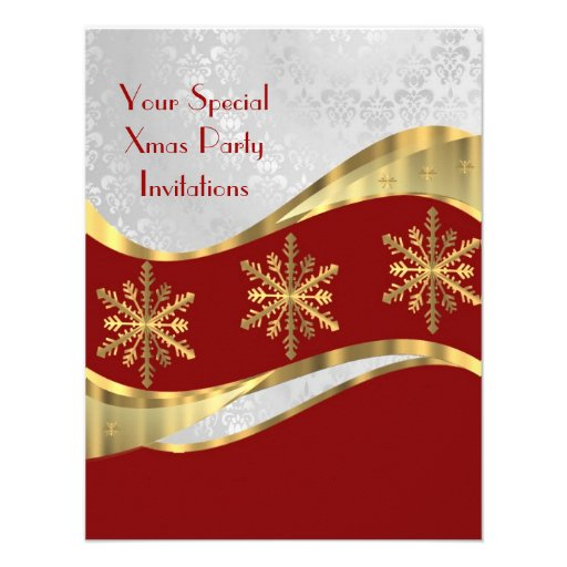 Red  white & gold Christmas Personalized Invite