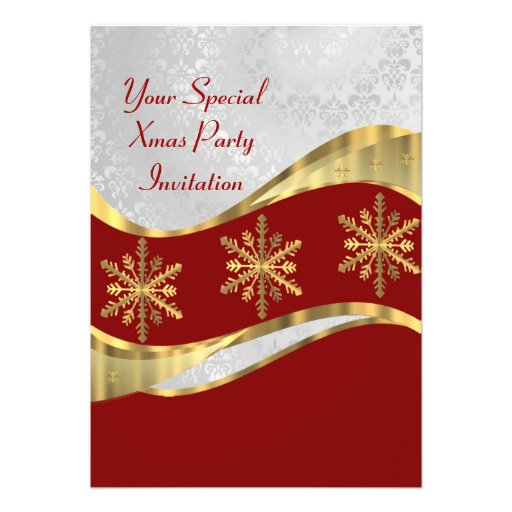 Red  white & gold Christmas Invitations