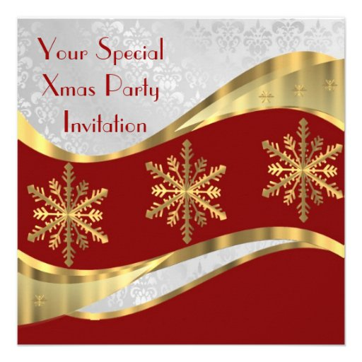 Red  white & gold Christmas Personalized Invites