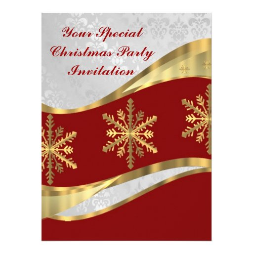 Red  white & gold Christmas Invite