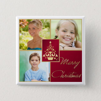 Red, White, Gold Christmas Tree Photo Button