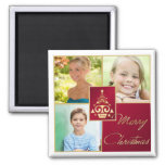 Red, White, Gold Christmas Tree Photo Magnet