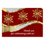 Red white & gold damask christmas business card