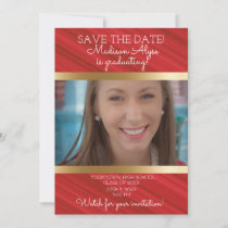 Red White Gold Graduation Save Date Photo Save The Date