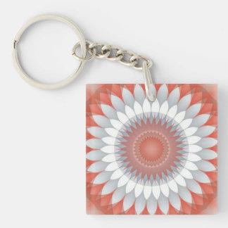 Red, White & Gray Flower Kaleidoscope Keychain